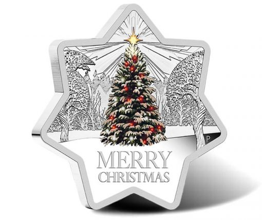 2015 Christmas Star Shaped 1 oz Silver Proof Coin