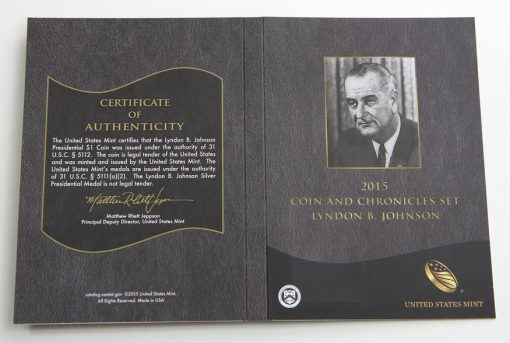 2015 Lyndon B. Johnson Coin and Chronicles Set, Certification