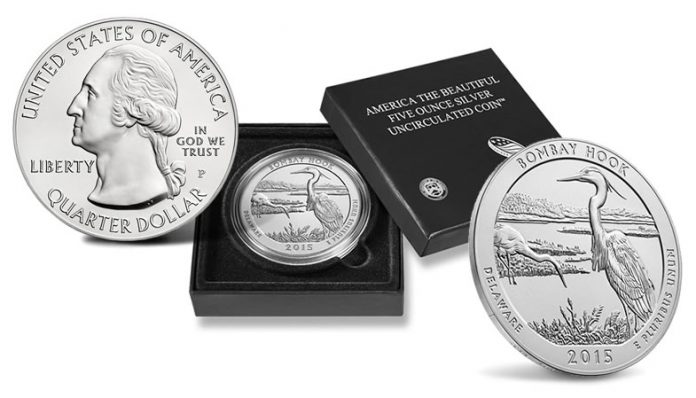 2015-P Bombay Hook Five Ounce Silver Uncirculated Coin and Case