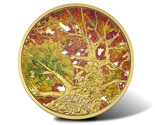 2016 Maple of Canopy Kaleidoscope of Color 2 oz Gold Coin, Reverse