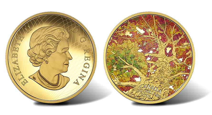 2016 Maple of Canopy Kaleidoscope of Color Gold Coin ...