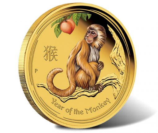 2016 Year of the Monkey 1oz Gold Proof Coloured Coin