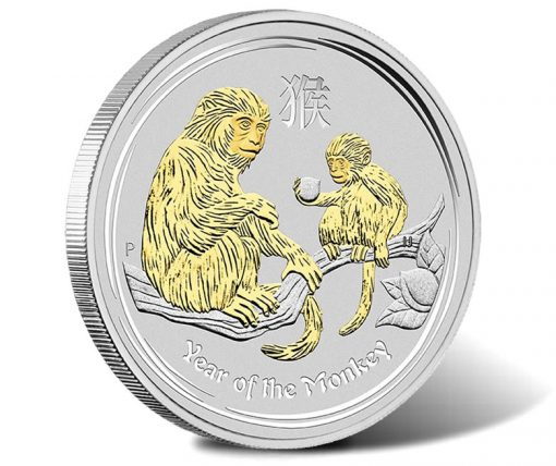 2016 Year of the Monkey 1oz Silver Gilded Coin