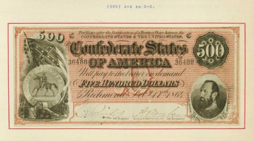 $500 Confederate note