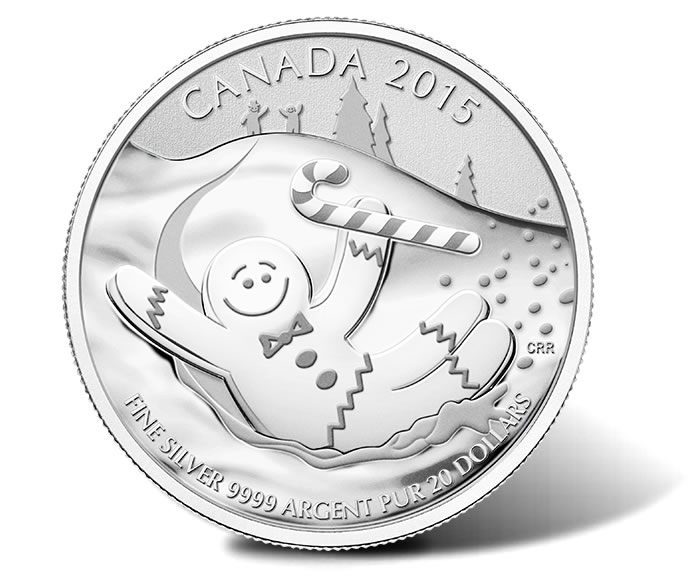 Canadian 2015 $20 Gingerbread Man Silver Coin