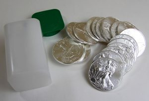 Roll of American Eagle silver bullion coins
