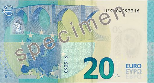 20 euro banknote, back