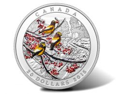 2015 Winter Freeze Silver Coin Features Evening Grosbeak