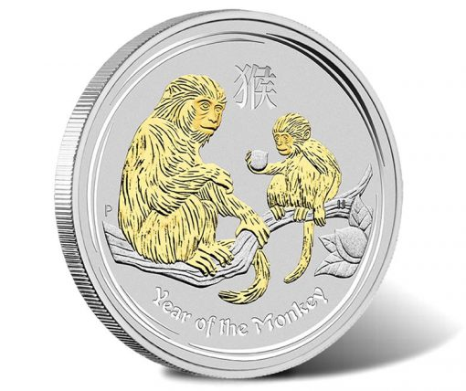 2016 Year of the Monkey 1 oz Gilded Silver Coin