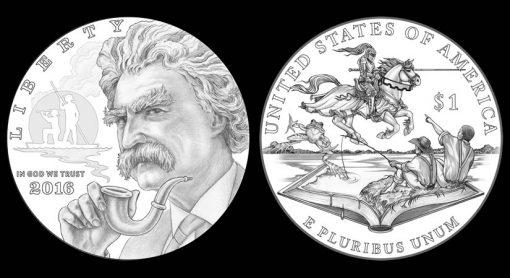 Designs for 2016 Mark Twain Commemorative Silver Dollars