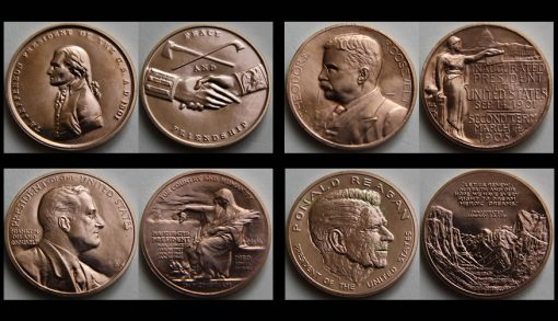 Jefferson, Roosevelt and Regan bronze medals