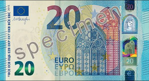 New 20 euro banknote, front