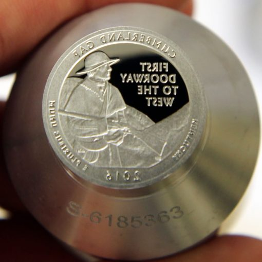 Proof die for 2016-S Proof Cumberland Gap National Historical Park Quarter, a
