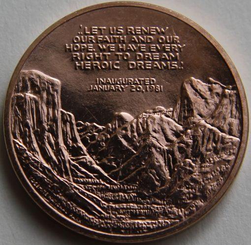 Ronald Reagan Bronze Medal, Reverse