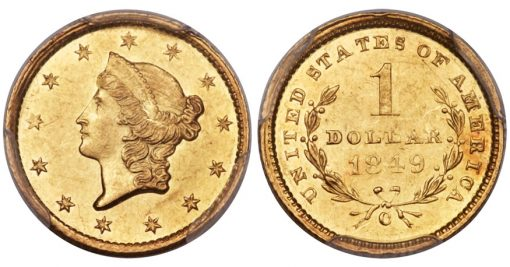 1849-C Open Wreath Gold Dollar