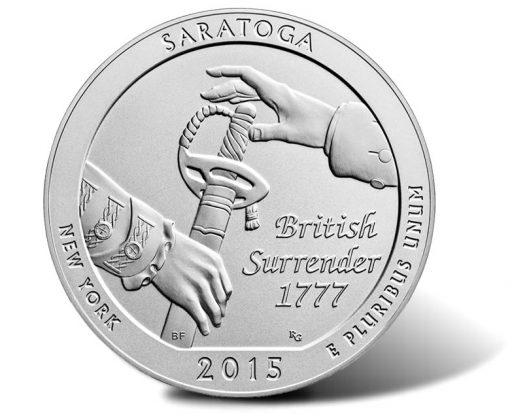 2015-P Saratoga Five Ounce Silver Uncirculated Coin - Reverse