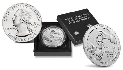 2015-P Saratoga National Historical Park Five Ounce Silver Uncirculated Coin and Case
