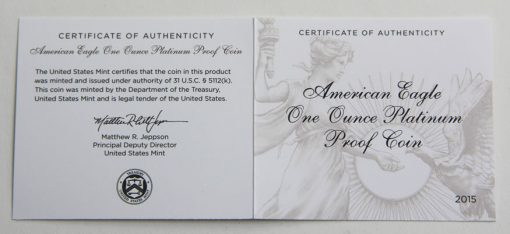 2015-W $100 Proof American Platinum Eagle - Certificate of Authenticity