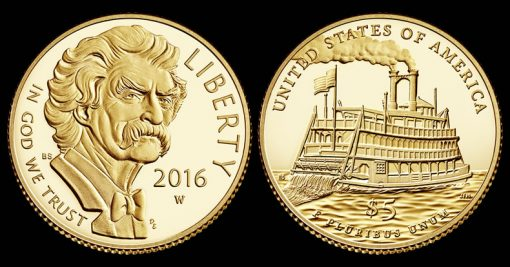 2016-W $5 Proof Mark Twain Commemorative Gold Coin