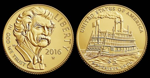 2016-W $5 Uncirculated Mark Twain Commemorative Gold Coin
