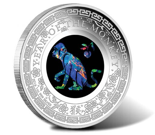 2016 $1 Lunar Monkey Opal 1 oz Silver Proof Coin