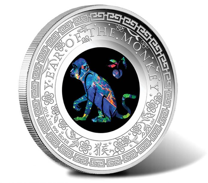 2016 $1 Lunar Monkey Opal 1 oz Silver Proof Coin