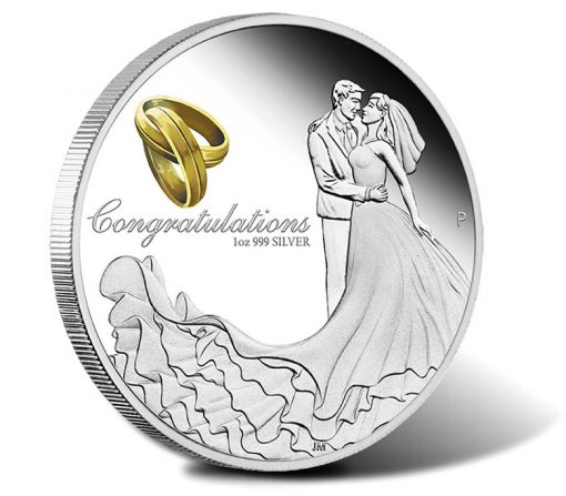 2016 $1 Wedding 1 oz Silver Proof Coin