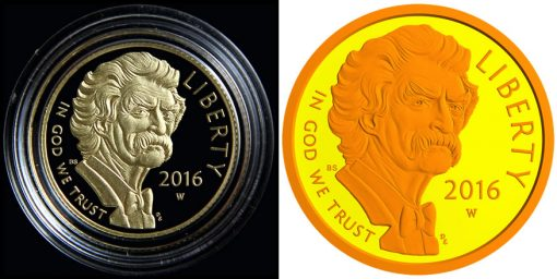 2016 Proof Mark Twain Commemorative Gold Coin - Obverse, Polishing and Laser Frosting