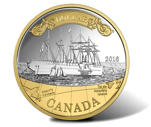 2016 Transatlantic Cable Silver Dollar, Gold Plated