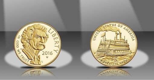 2016-W $5 Proof Mark Twain Commemorative Gold Coin, Obverse and Reverse