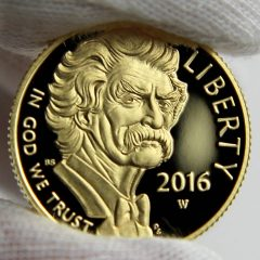 2016-W $5 Proof Mark Twain Commemorative Gold Coin, Obverse-c