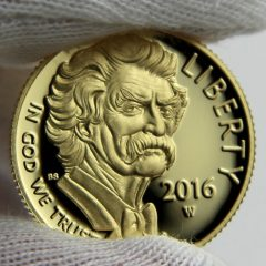 2016-W $5 Proof Mark Twain Commemorative Gold Coin, Obverse-d