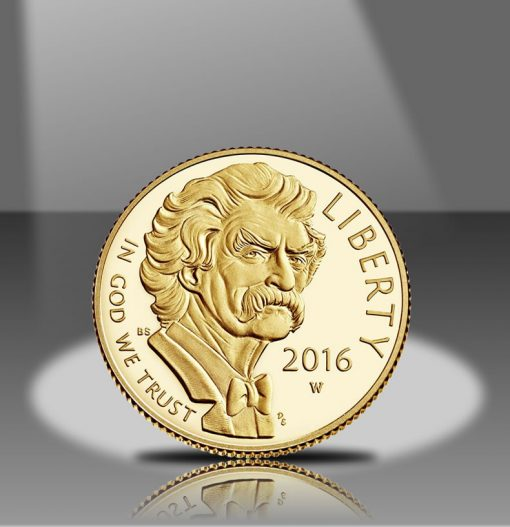 2016-W $5 Proof Mark Twain Commemorative Gold Coin, Obverse in Spotlight