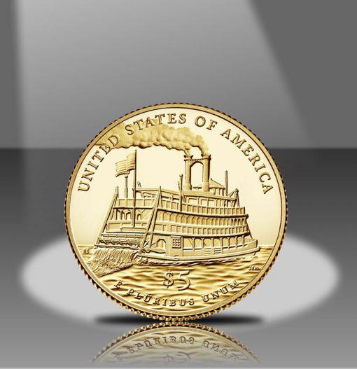 2016-W $5 Proof Mark Twain Commemorative Gold Coin, Reverse in Spotlight