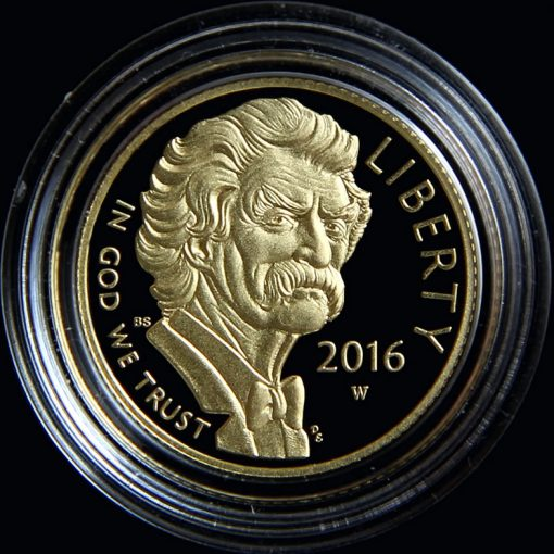 2016-W $5 Proof Mark Twain Commemorative Gold Coin in Capsule, Obverse