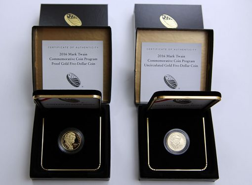 2016-W $5 Proof and Uncirculated Mark Twain Commemorative Gold Coins and Cases