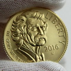 2016-W $5 Uncirculated Mark Twain Commemorative Gold Coin, Obverse-b