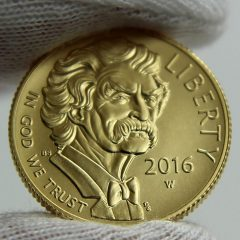 2016-W $5 Uncirculated Mark Twain Commemorative Gold Coin, Obverse-c