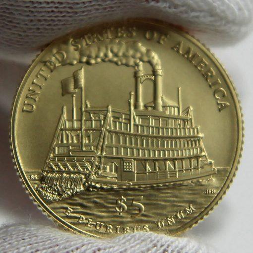 2016-W $5 Uncirculated Mark Twain Commemorative Gold Coin, Reverse