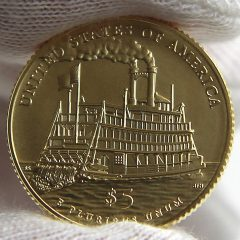 2016-W $5 Uncirculated Mark Twain Commemorative Gold Coin, Reverse-a