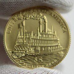 2016-W $5 Uncirculated Mark Twain Commemorative Gold Coin, Reverse-b