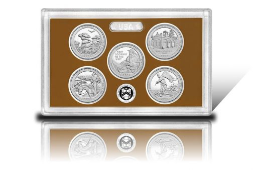 Lens and coins of 2016 America the Beautiful Quarters Proof Set