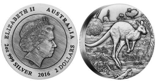 2016 Australian Kangaroo High Relief 2 oz Silver Antiqued Coin
