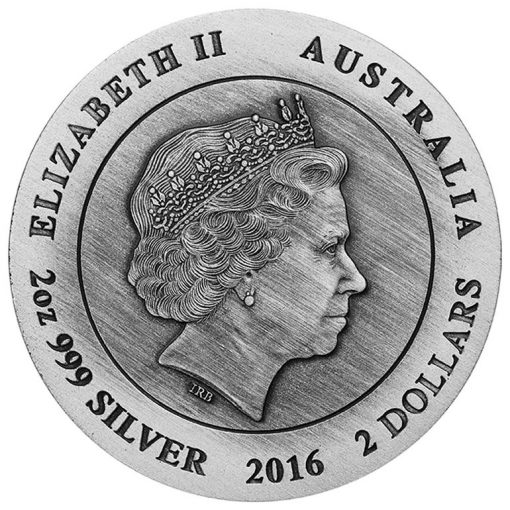 2016 Australian Kangaroo High Relief 2 oz Silver Antiqued Coin, Obverse