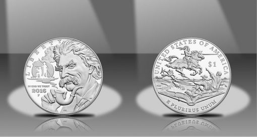 2016-P $5 Proof Mark Twain Commemorative Silver Dollar, Obverse and Reverse