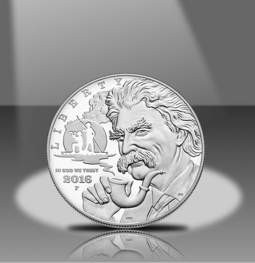 2016-P Proof Mark Twain Commemorative Silver Dollar, Obverse in Spotlight