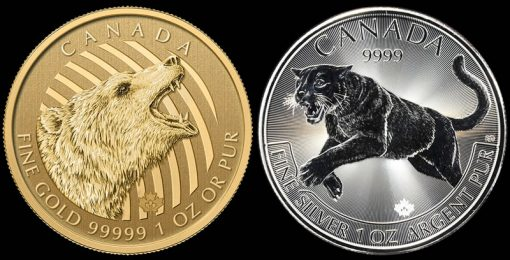 2016 Roaring Grizzly Gold Coin and 2016 Cougar Silver Coin