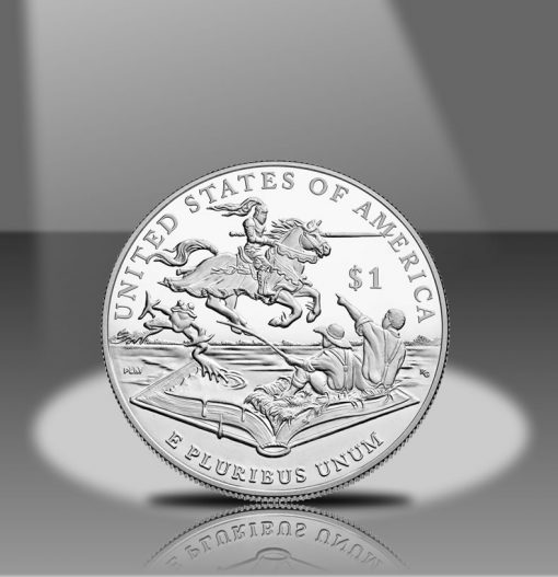 2016-P Proof Mark Twain Commemorative Silver Dollar, Reverse in Spotlight