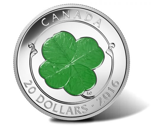 Canadian 2016 $20 Four-Leaf Clover Silver Proof Coin
