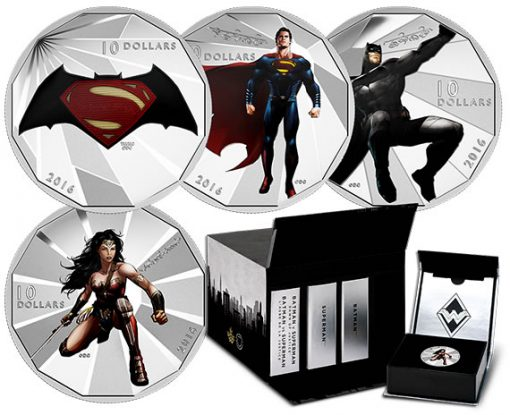 Coins of the 2016 $10 Batman v Superman 4 Coin Subscription